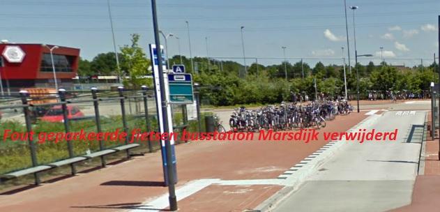 Fout geparkeerde fietsen busstation Marsdijk verwijderd