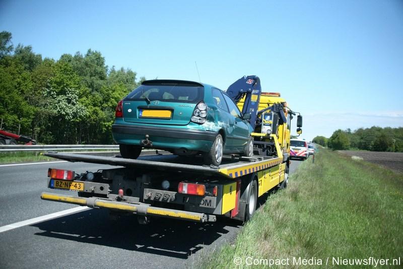 Eenzijdig verkeersongeval op A28 tussen Assen en Vries