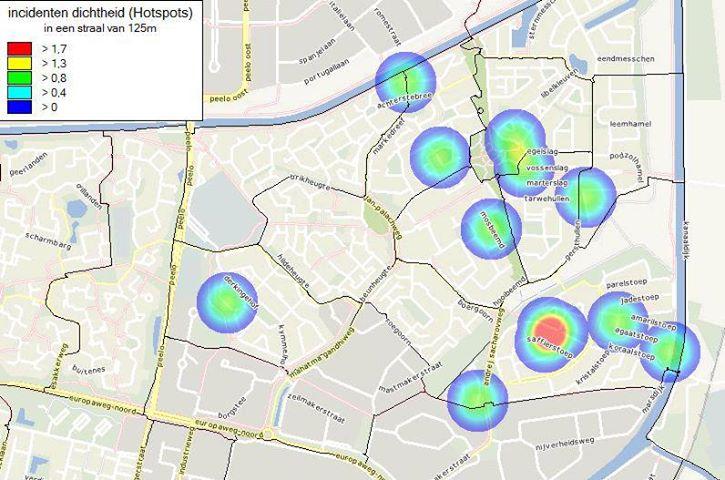 Overzichtskaartje auto- en woninginbraken Marsdijk – periode mei 2013