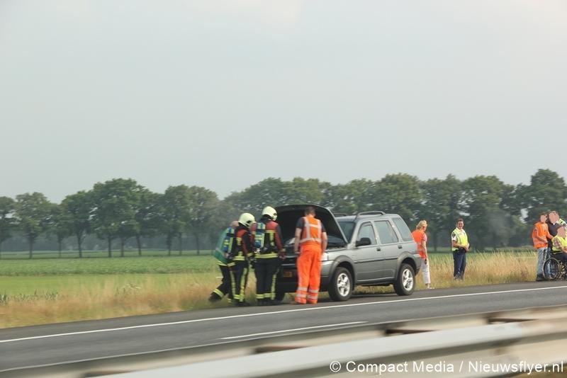 Autobrand op de A28 nabij Assen
