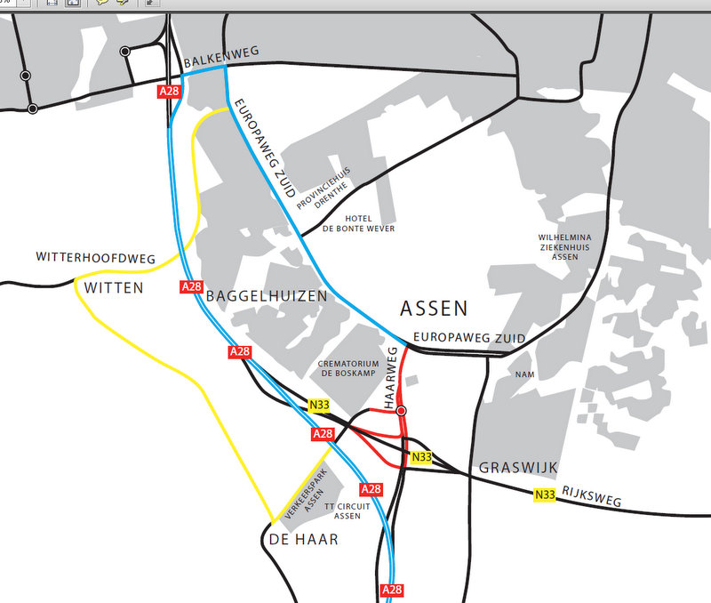 Afslag Assen-Zuid deels afgesloten