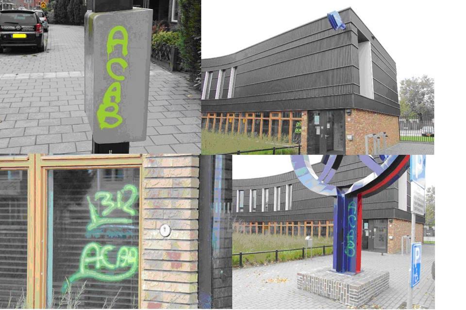 Graffiti op en nabij politiebureau Weiersstraat