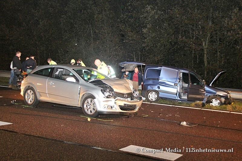 Meerdere gewonden bij kettingbotsing op de A28 bij Vries