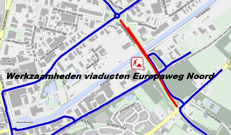 Werkzaamheden viaducten Europaweg Noord