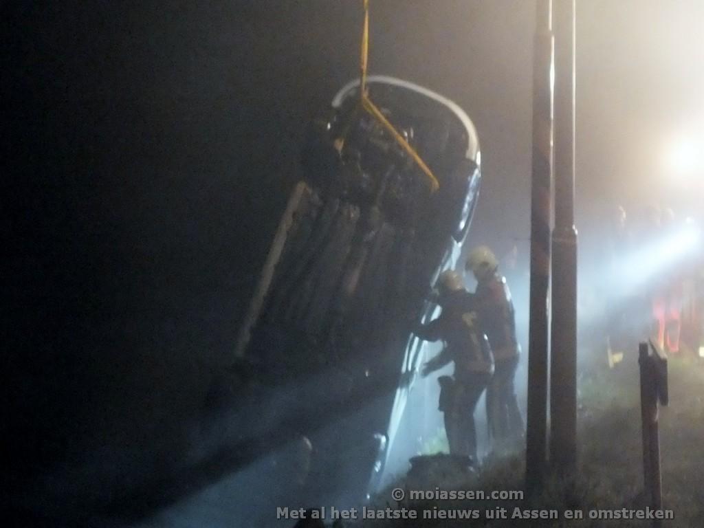 Gestolen auto te water in het Noord-Willemskanaal t.h.v. de Wethouder Bergerwerg in Assen (VIDEO)