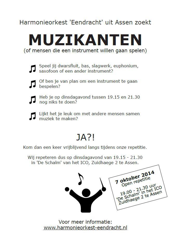 """Open repetitie Harmonieorkest """"Eendracht"""" Assen op 7 oktober"""