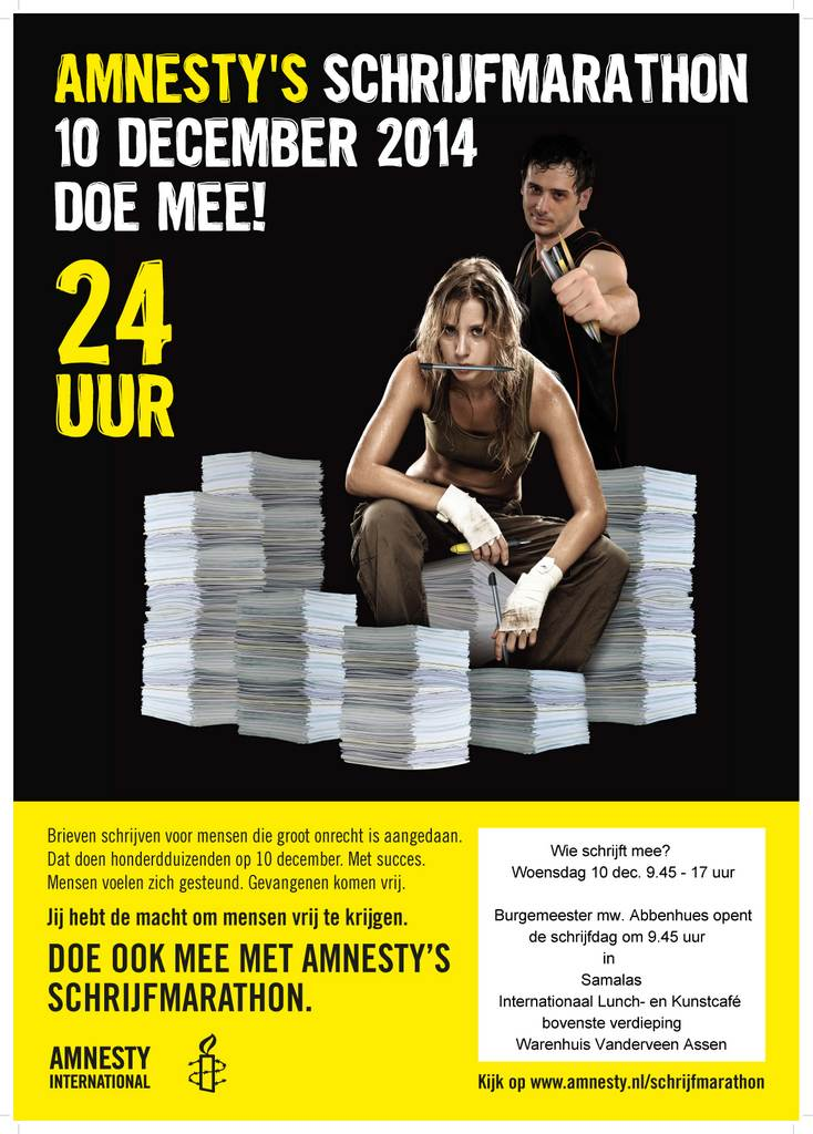 Schrijfmarathon Amnesty International in Assen