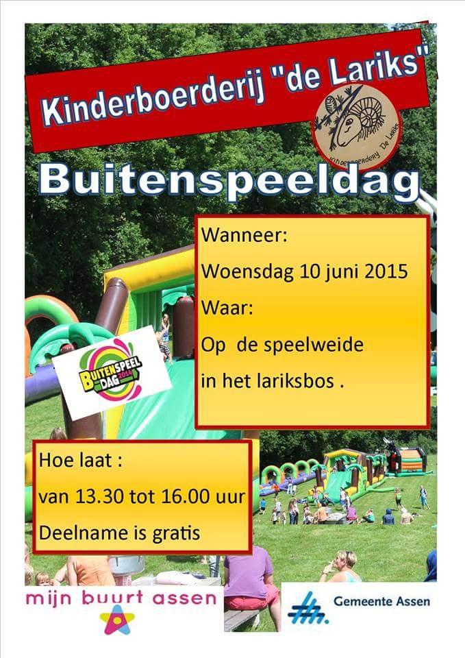 """Kinderboerderij """"de Lariks """",  organiseert Straatspeeldag ( buitenspeeldag )"""