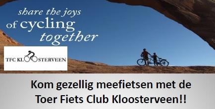 Kom gezellig meefietsen met de Toer Fiets Club Kloosterveen