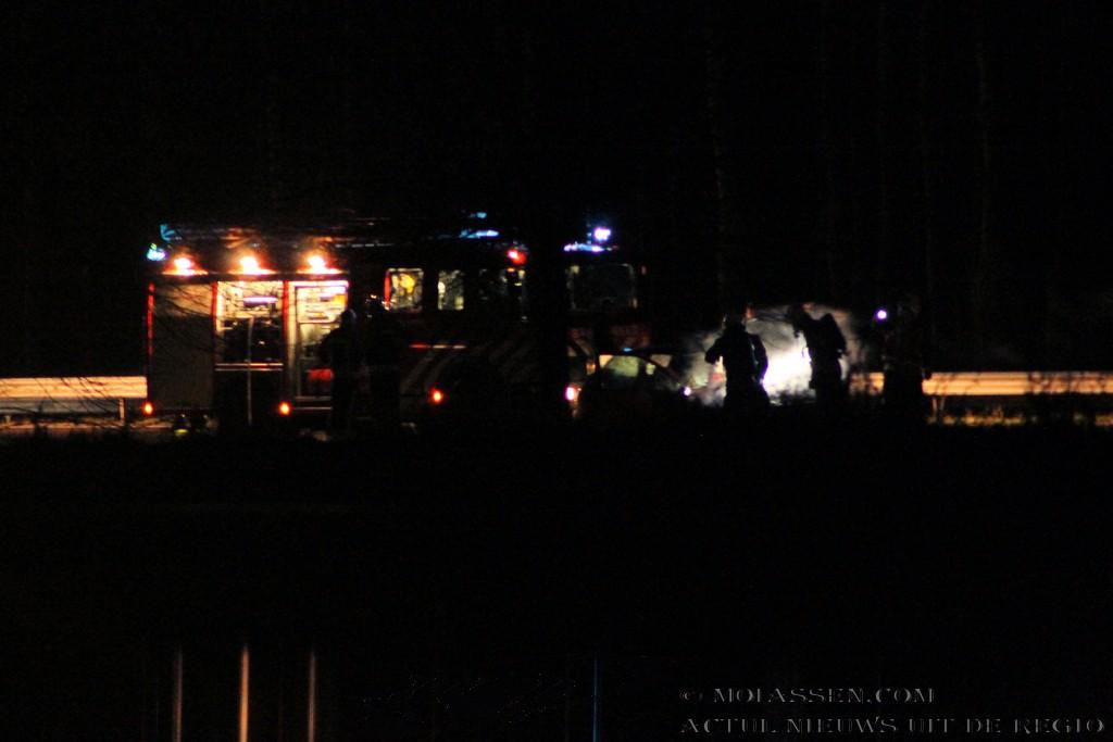 Autobrand op de A28 bij Assen