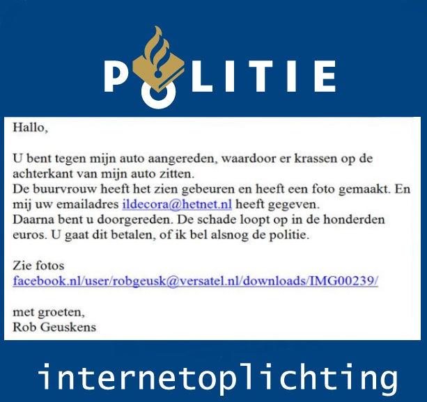 De politie Waarschuwing voor oplichtingsmail over botsing