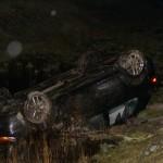 Auto op de kop in sloot N33 ter hoogte van Gieten