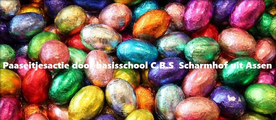 Paaseitjesactie door de basisschool C.B.S. Scharmhof uit Assen