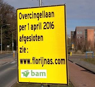 Overcingellaan vanaf 1 april lange tijd afgesloten voor alle verkeer