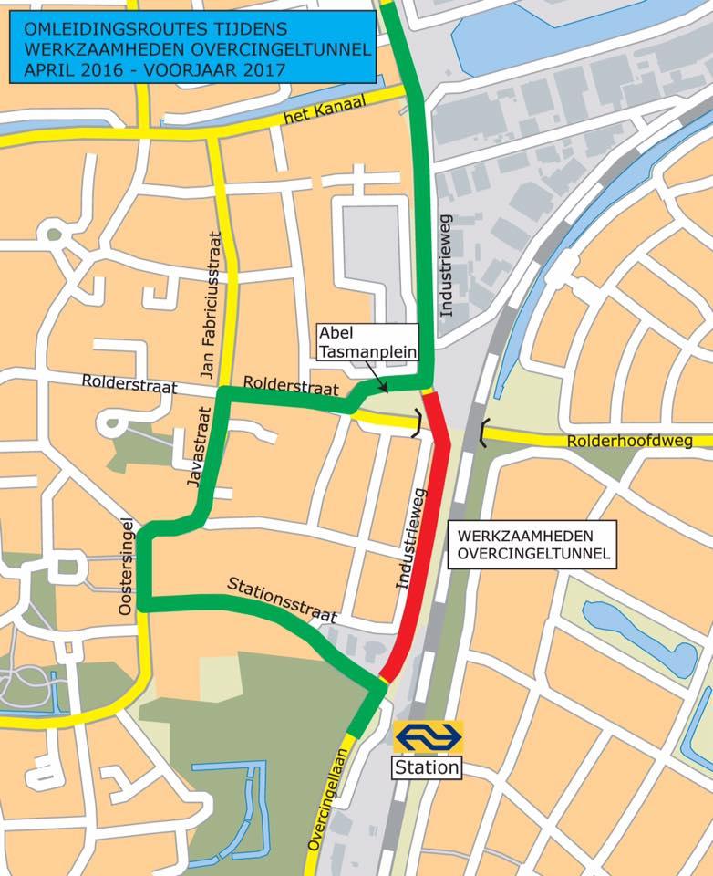noordelijke deel van de Overcingellaan voor alle verkeer afgesloten