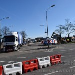 Tijdelijke rotonde op de Rolderstraat in Assen