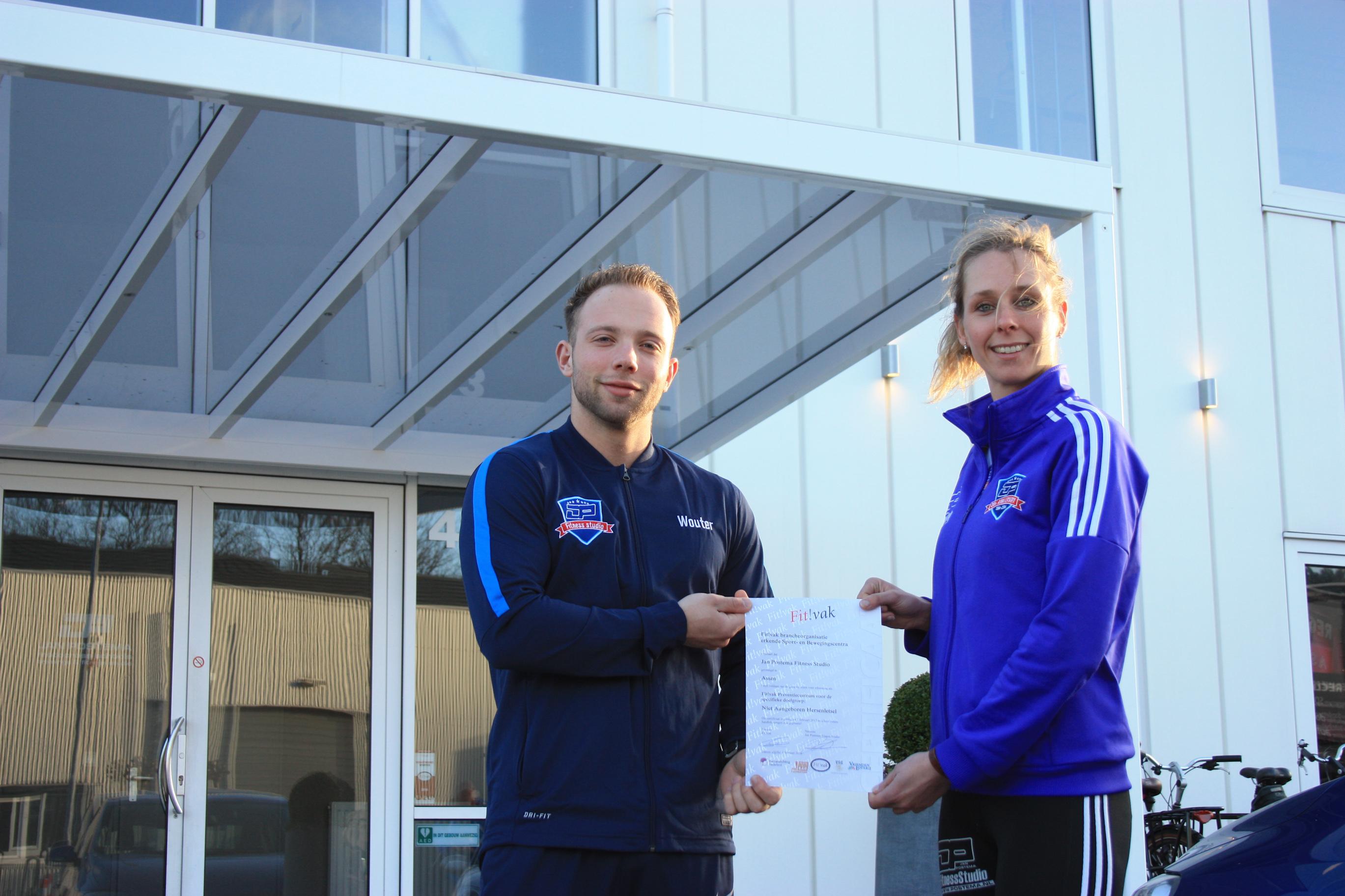 Jan Postema Fitness Studio ontvangt certificaat preventiecentrum & hersenletsel