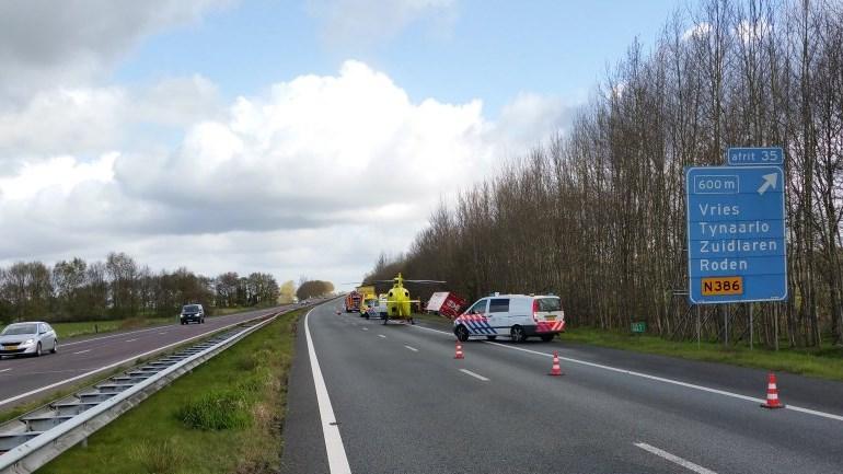 ongeluk met vrachtwagen op A28