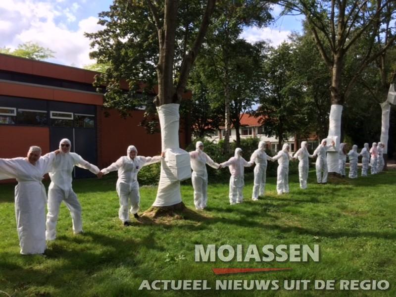 Studenten van Pabo De Eekhorst in Assen, 26 bomen ingepakt met witte stof