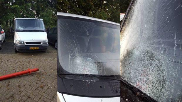 Onbekende vandalen vernielen ruit bestelbus in wijk Peelo Assen
