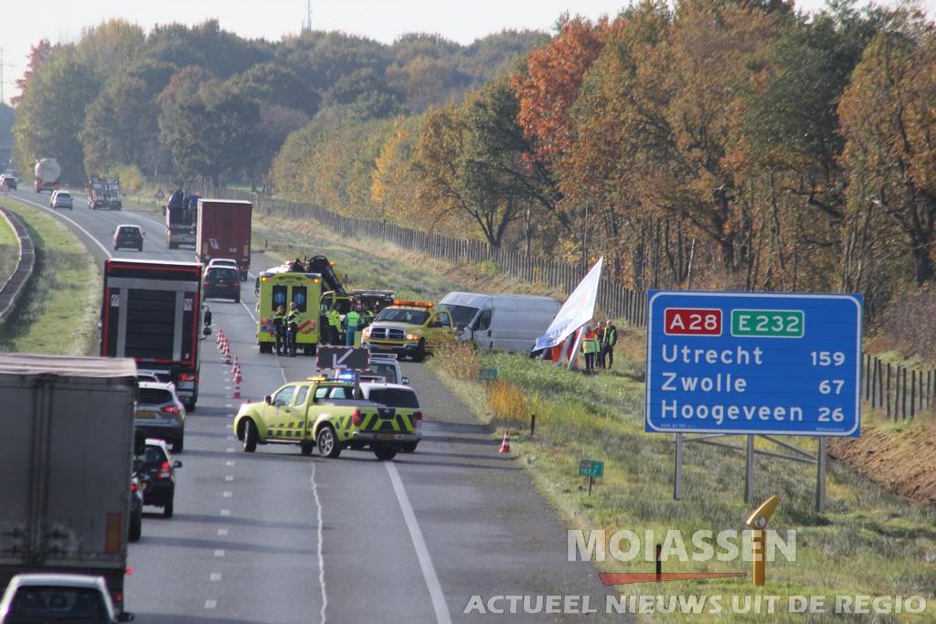 Eenzijdig ongeval op A28 tussen Assen en Beilen