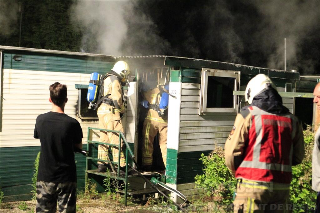 Brand in stacaravan op camping in Eext