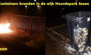 Containers branden in de wijk Noordepark Assen