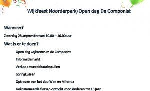 wijkfeest Noorderpark en open dag wijkcentrum de Componist