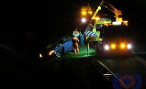 Automobilist in de sloot langs de A28 bij Assen