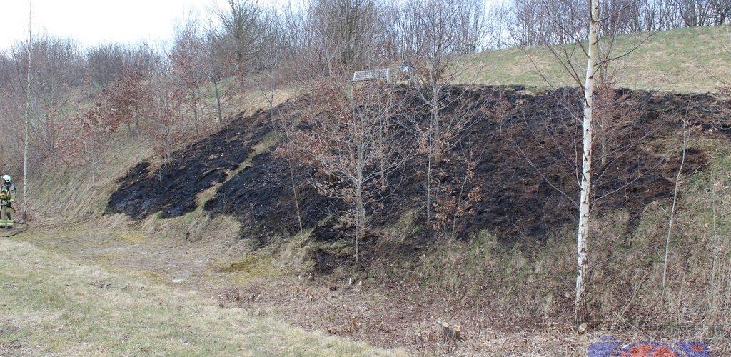 Wederom stuk berm afgebrand op het bedrijventerrein Messchenveld Assen