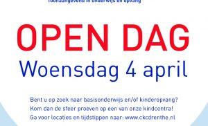 Kindcentra CKC Drenthe houden open ochtend op woensdag 4 april