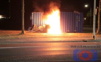Buitenbrand aan de Thorbeckelaan met de Molenstraat in Assen (video)