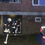 Berging van een flat in brand aan de Schultestraat in de wijk Noorderpark in Assen